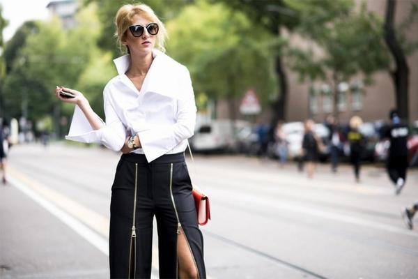 衬衣+长裤,衬衣要有设计感  图片源自popbee