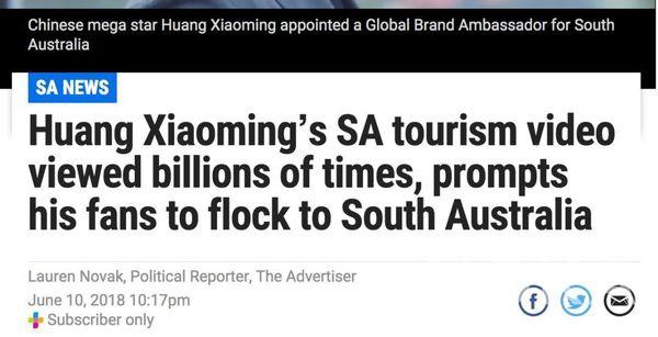 黄晓明为南澳大利亚拍摄的宣传片获点击超过10亿次