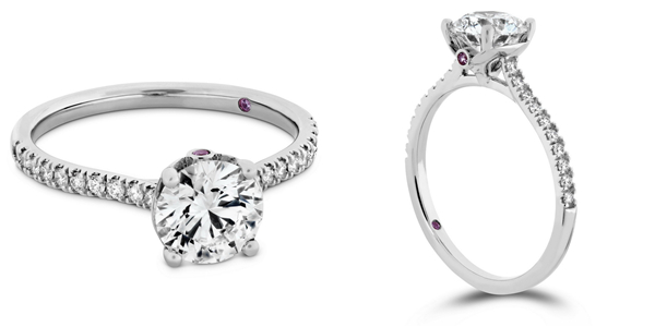 SLOANE SILHOUETTE戒指 白K金/玫瑰金款式 钻石、粉红蓝宝石、主钻0.30ct起