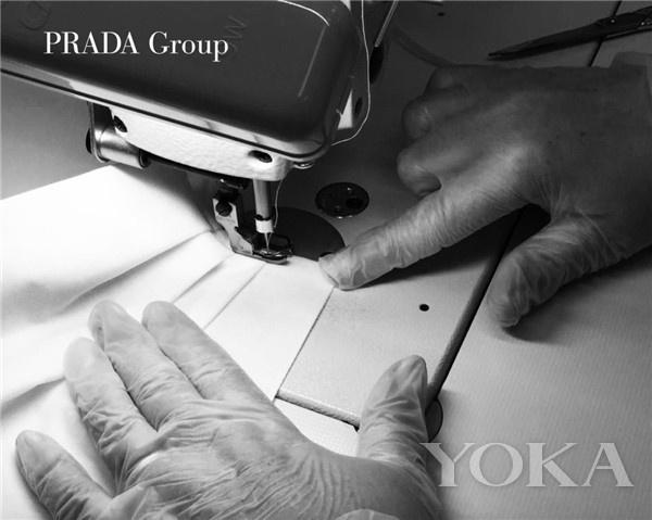 PRADA医用防护服和口罩(图片来源于品牌)